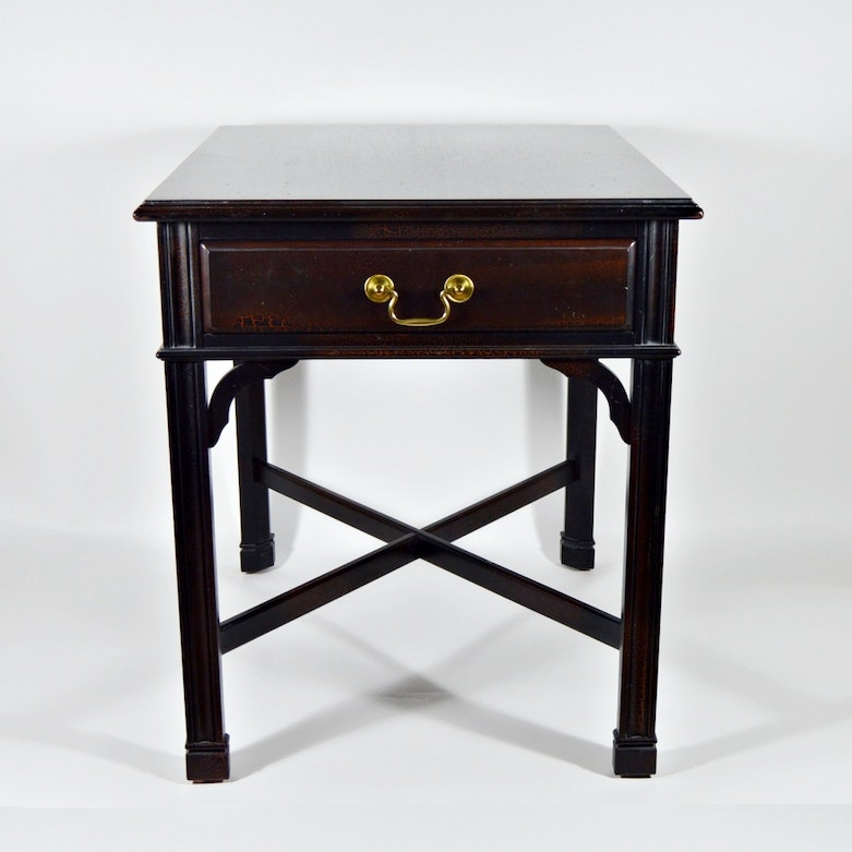 Marble Top Lyre Coffee Table: Mahogany Victorian Style Marble Top Side Table With Lyre