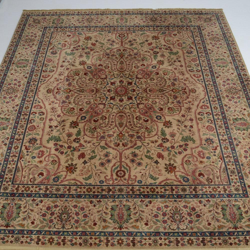 "Hand Knotted Indo Persian Obeetee Wool Area Rug Ebth: Machine Made Karastan ""Tabriz Medallion"" Area Rug"