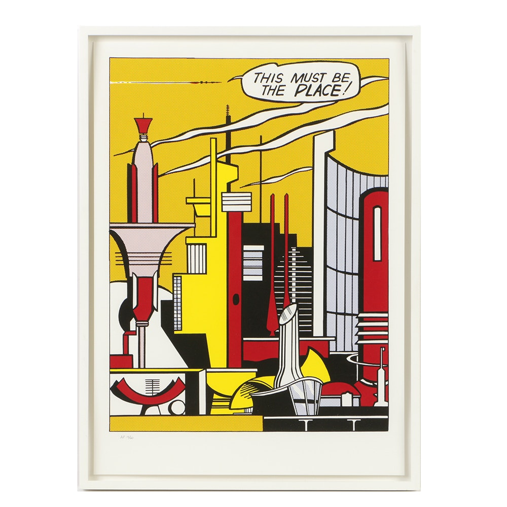 "Limited Edition Serigraph of Roy Lichtenstein Photolithograph ""This Must Be The Place"""