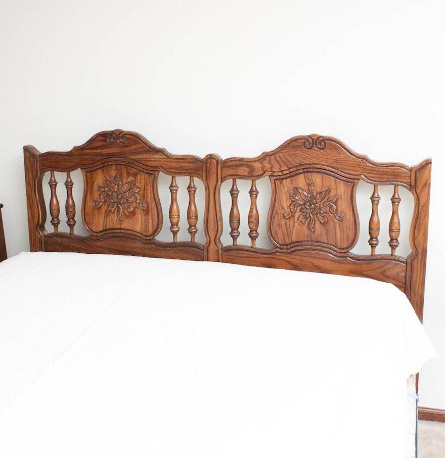 Vintage Ethan Allen Carved Oak Queen Size Bed Ebth