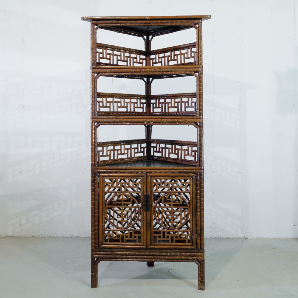 Attirant Chinese Style Faux Bamboo Corner Cabinet ...