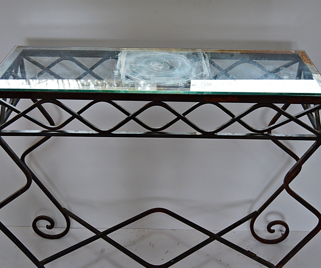 Metal console table with glass top ebth for Metal console tables glass top