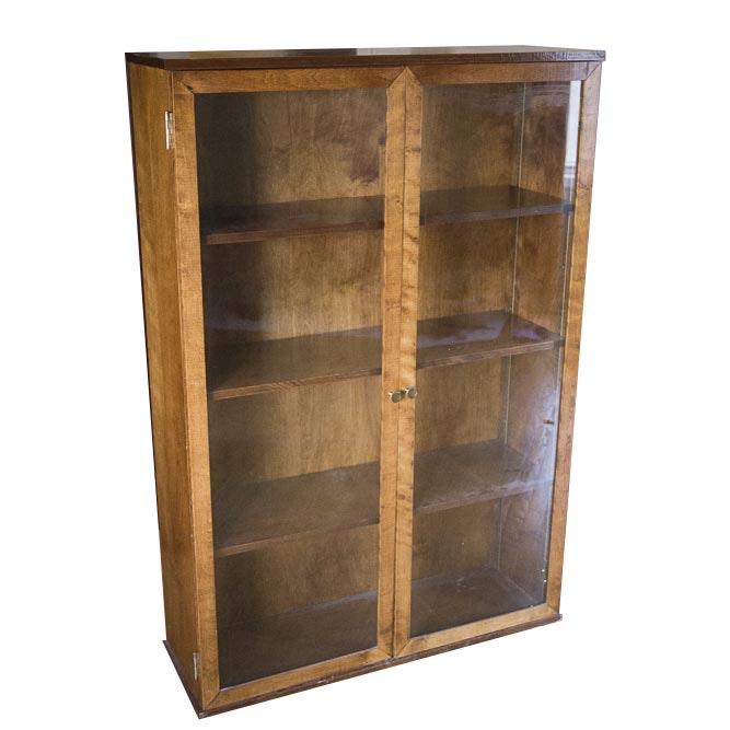 Vintage Poplar Glass Door Bookcase Cabinet Ebth