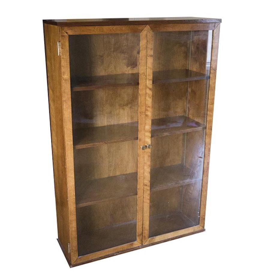 Poplar For Cabinets Vintage Poplar Glass Door Bookcase Cabinet Ebth