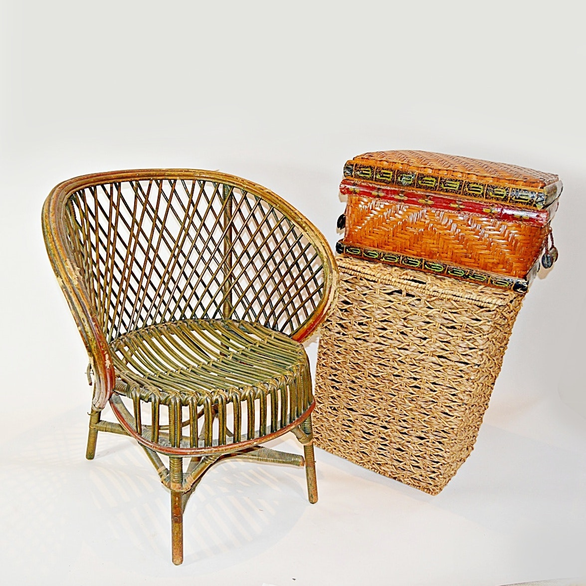 Wicker Chair, Hamper And Trunk ...