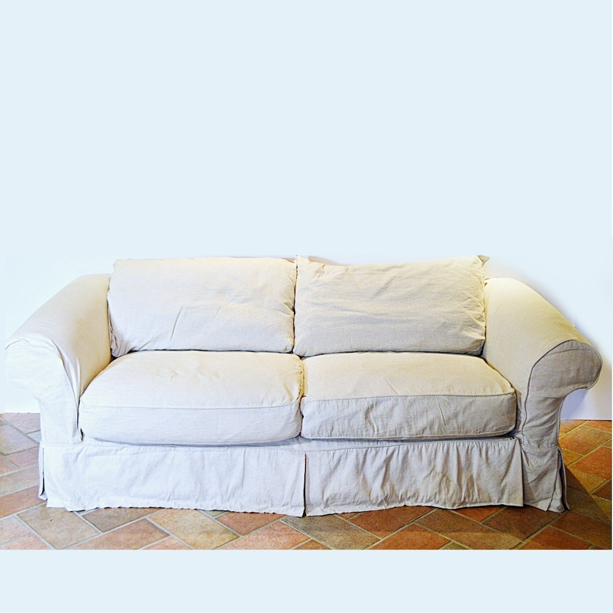 Linen-Slipcovered Sofa with Down/Feather-Filled Cushions