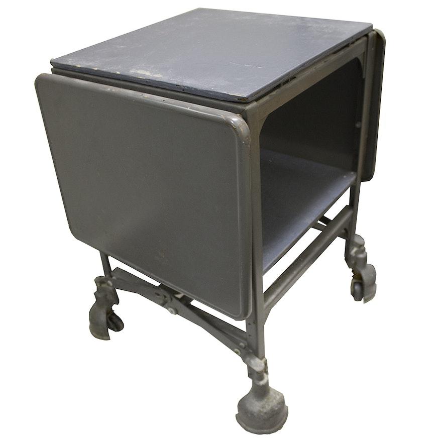 Vintage Metal And Wood Rolling Office Cart/Desk : EBTH