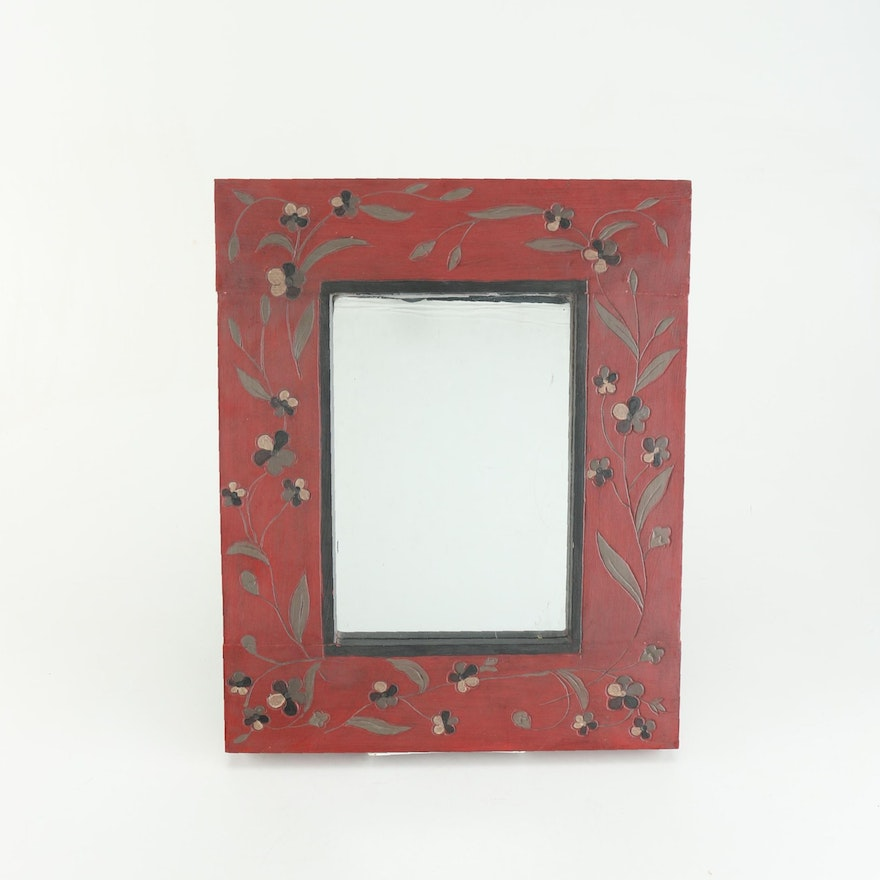 Carved Wooden Red Floral Wall Mirror : EBTH