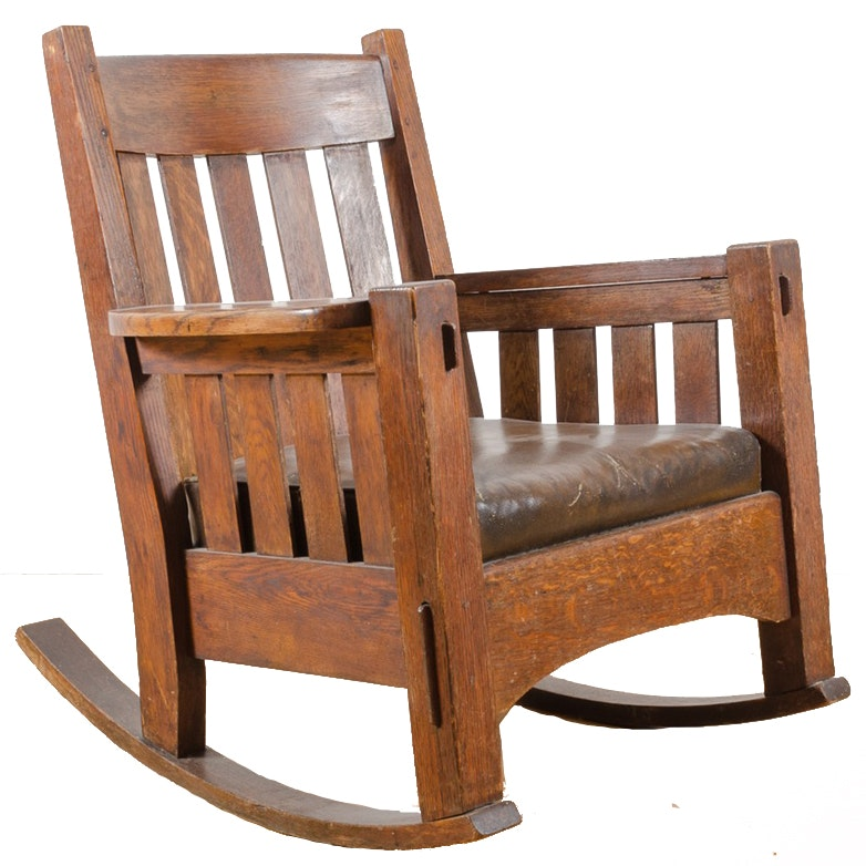 Charmant Vintage Arts And Crafts Oak Rocking Chair ...