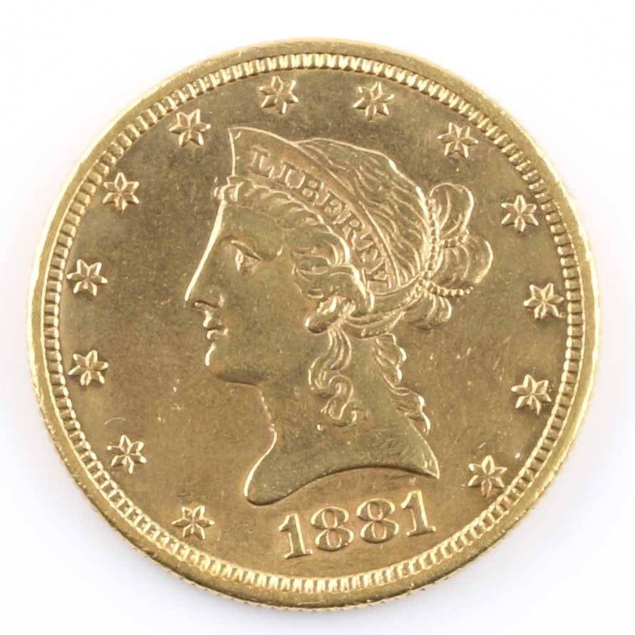 1881 S Liberty Head Eagle Ten Dollar Gold Coin