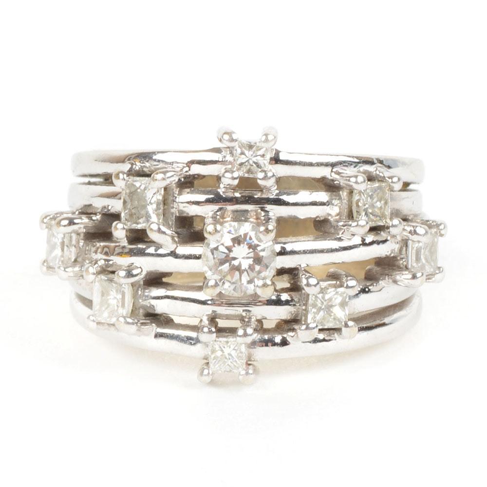 14K White Gold Multi-Band Diamond Ring