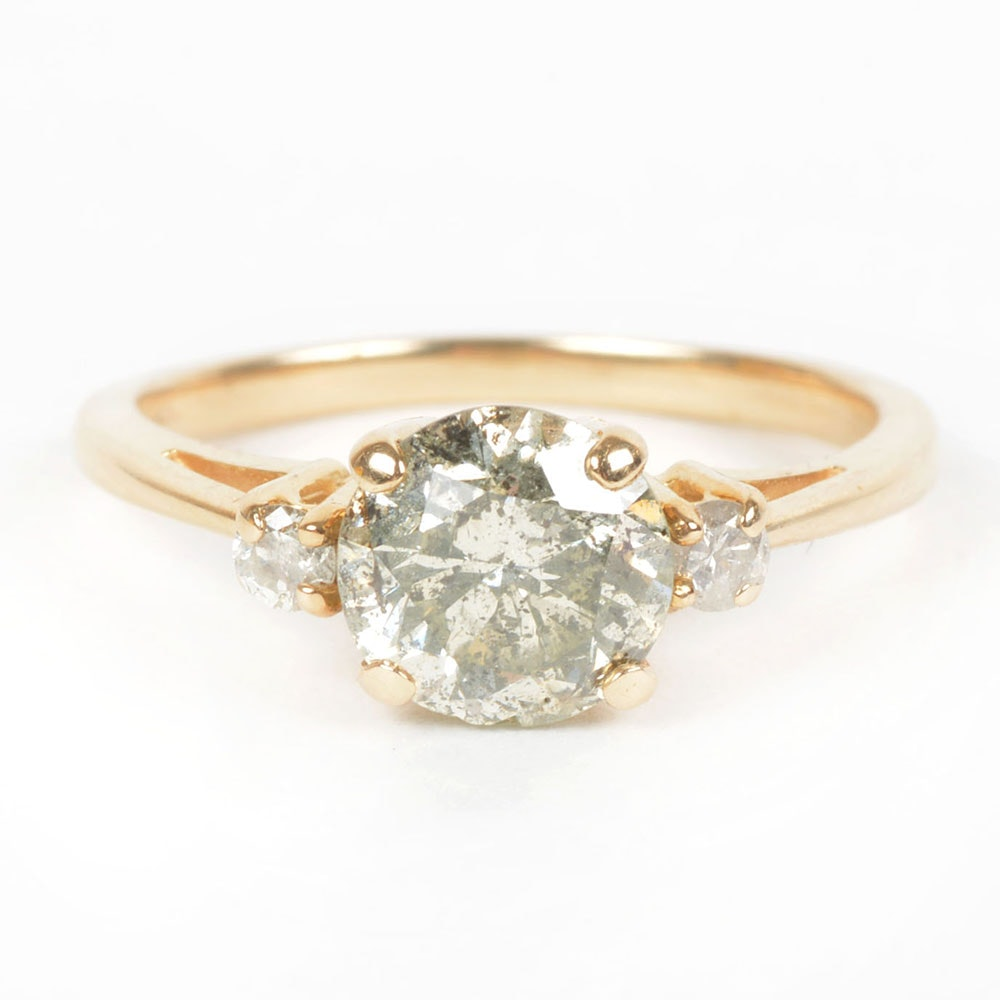 14K Yellow Gold Three-Stone Diamond Engagement Ring 1.17 CTS