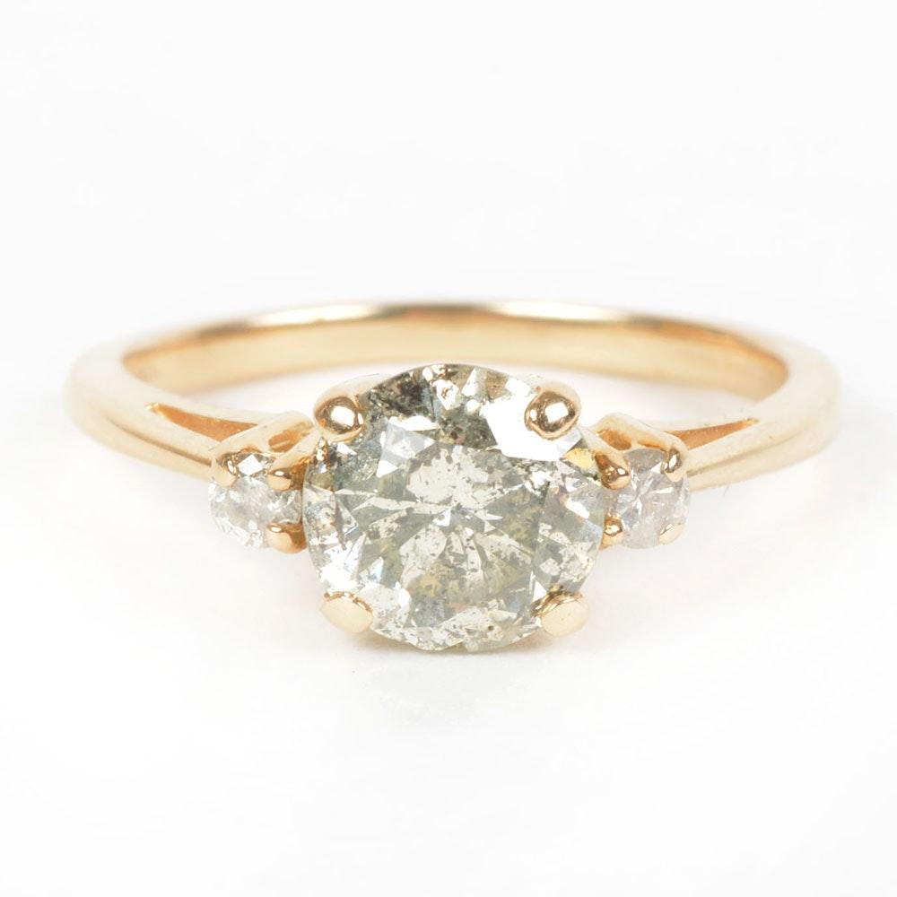 14K Yellow Gold Three-Stone Diamond Engagement Ring 1.17 CTS