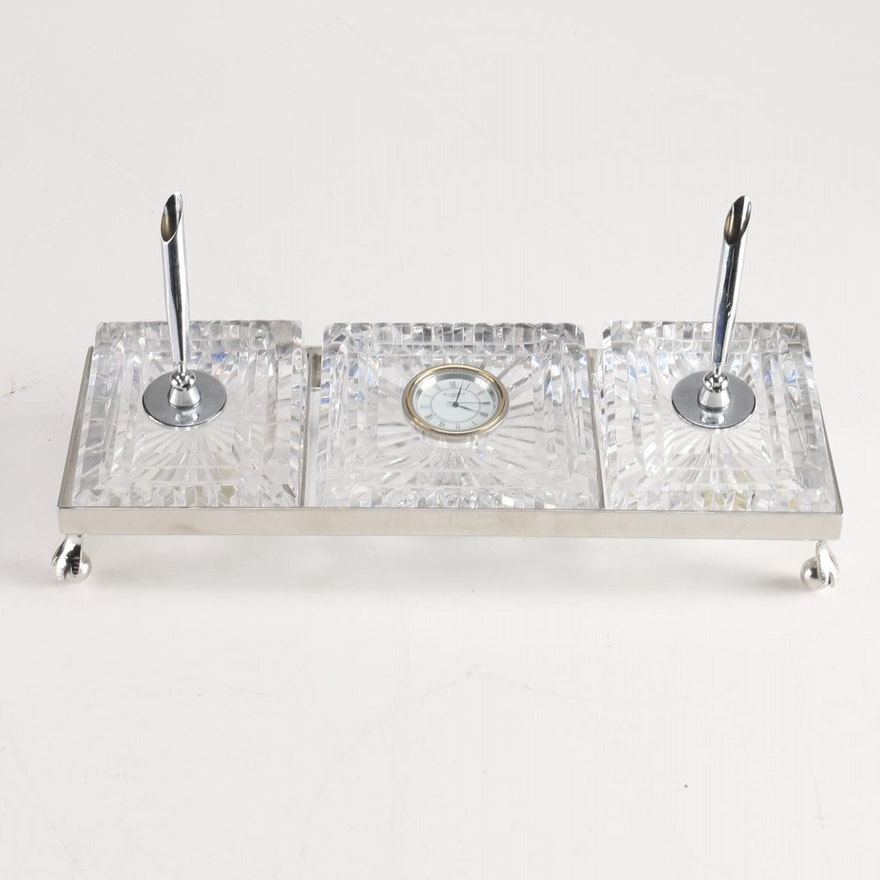 Waterford Crystal Pen Holder And Clock Desk Set