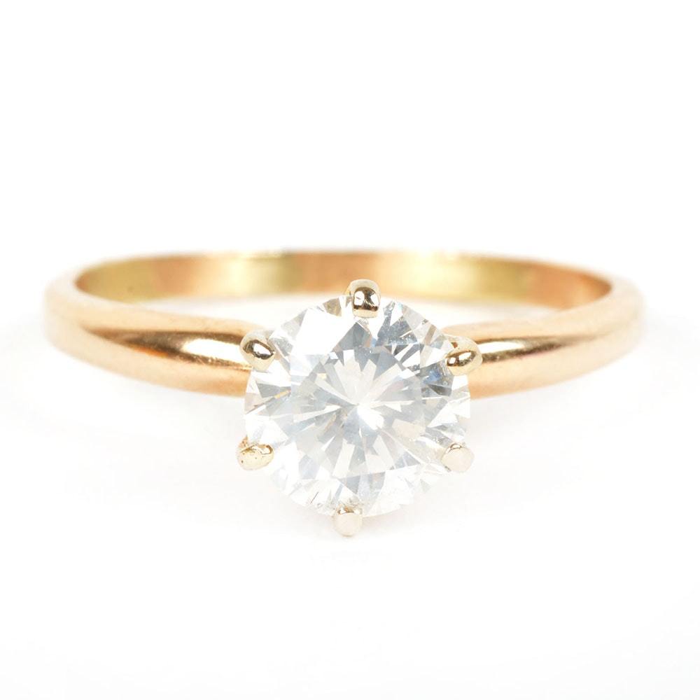 10K Yellow Gold 1.10 CTS Solitaire Diamond Engagement Ring