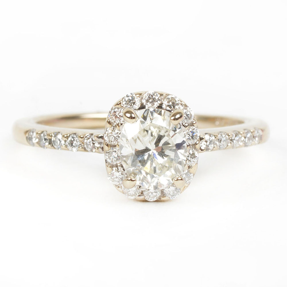 18K White Gold Oval Cut Diamond Ring with Halo