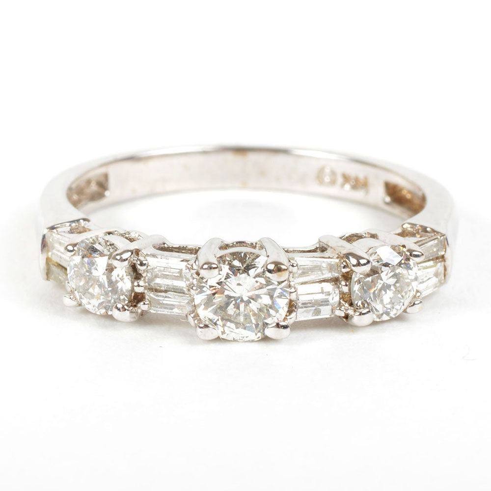 14K White Gold Alternating Round and Baguette Cut Diamond Ring