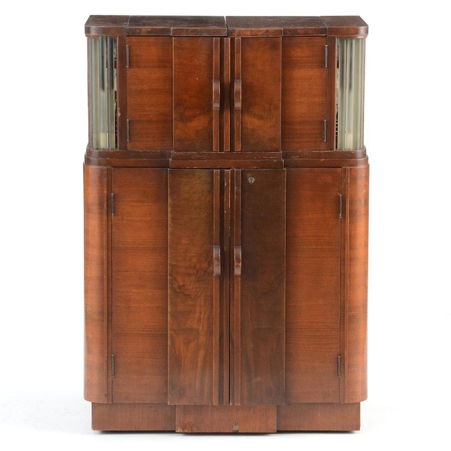 Walnut Art Deco Liquor Cabinet : EBTH