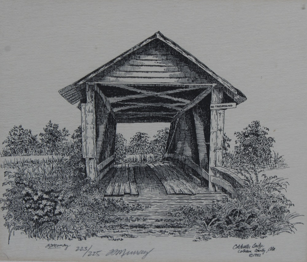 M Murray Limited Edition Etching Quot Coldwater Bridge Quot Ebth