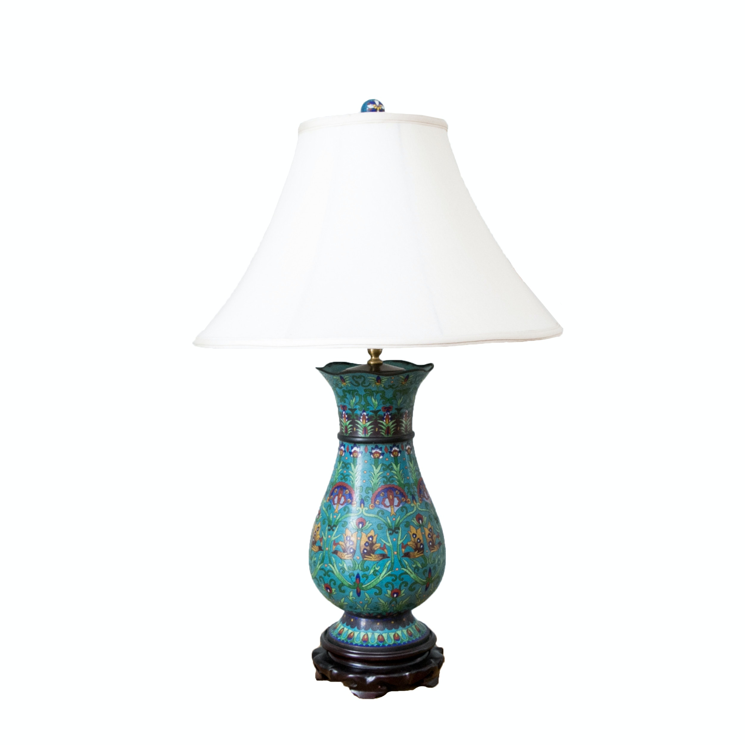 Vintage Baluster Form Chinese Cloisonné Lamp ...