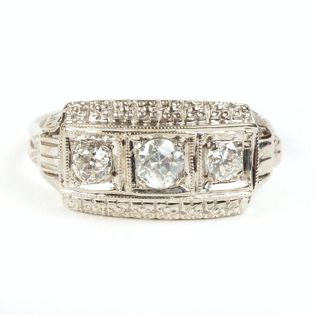 14K White Gold Art Deco Inspired Three-Stone Diamond Ring
