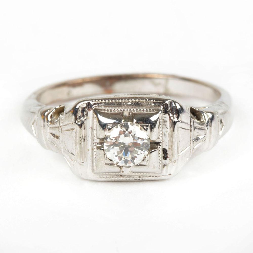 10K White Gold Antique Solitaire Diamond Ring