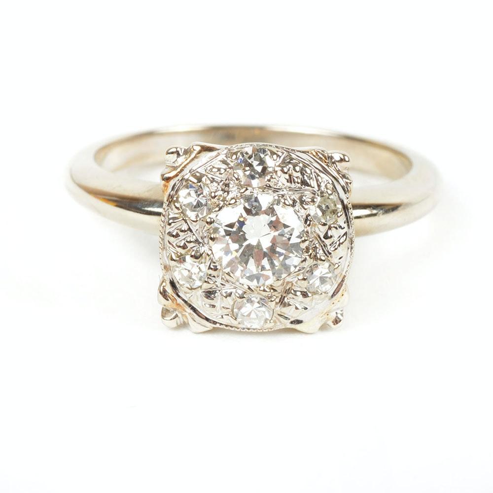 14K White Gold Antique Illusion Set Diamond Ring