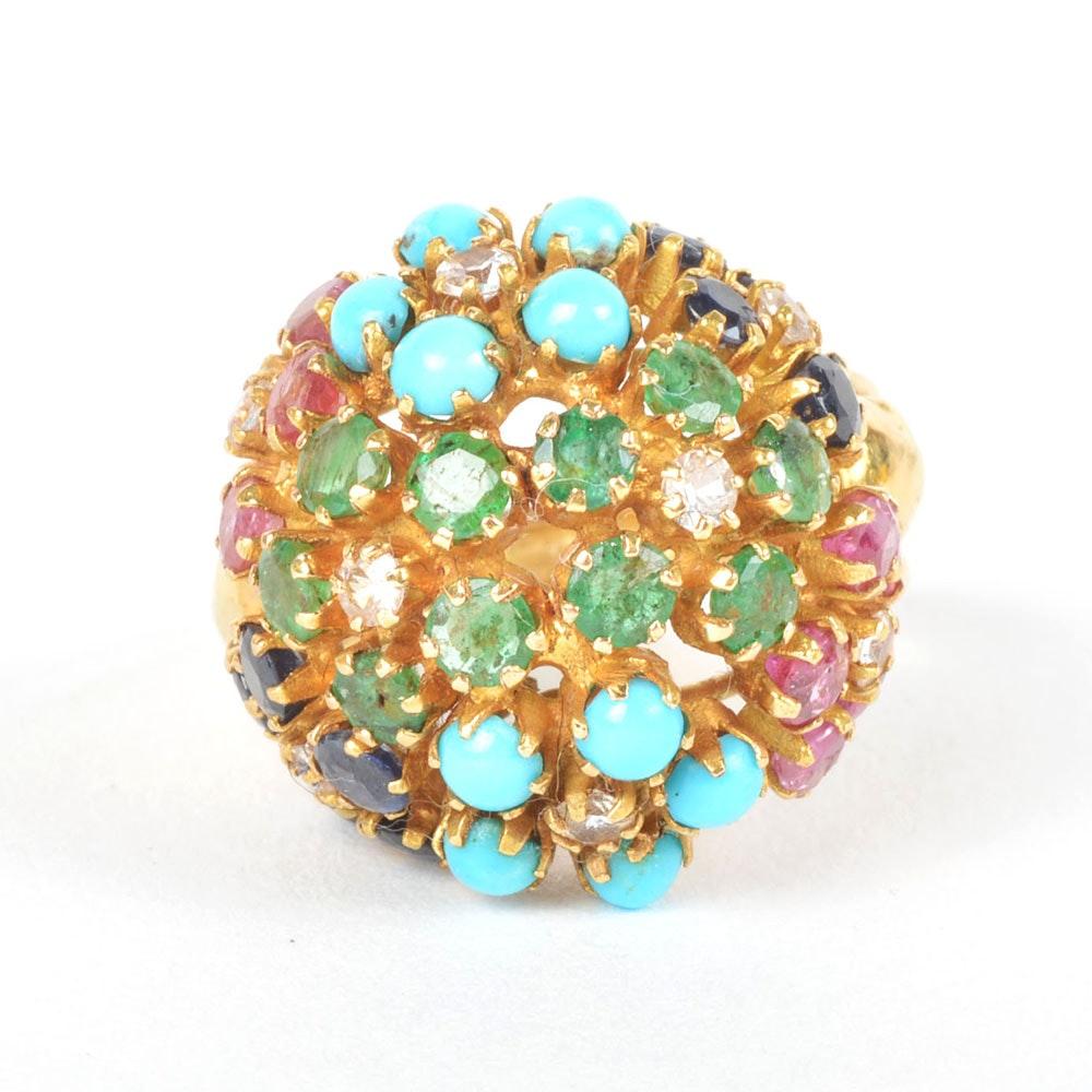 Multi-Stone Flower Dome 18K Gold Ring