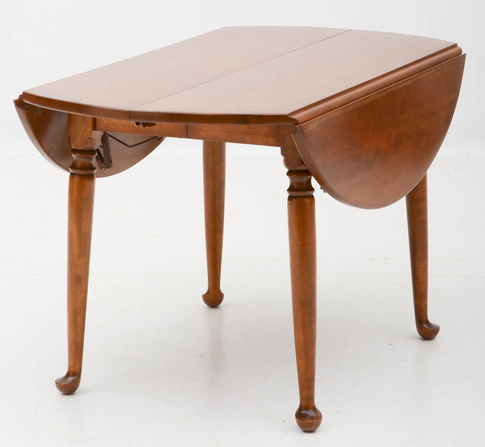 """Maple Kitchen Table With Chair And Bench Ebth: Ethan Allen """"Baumritter"""" Maple Drop-Leaf Dining Table And"""