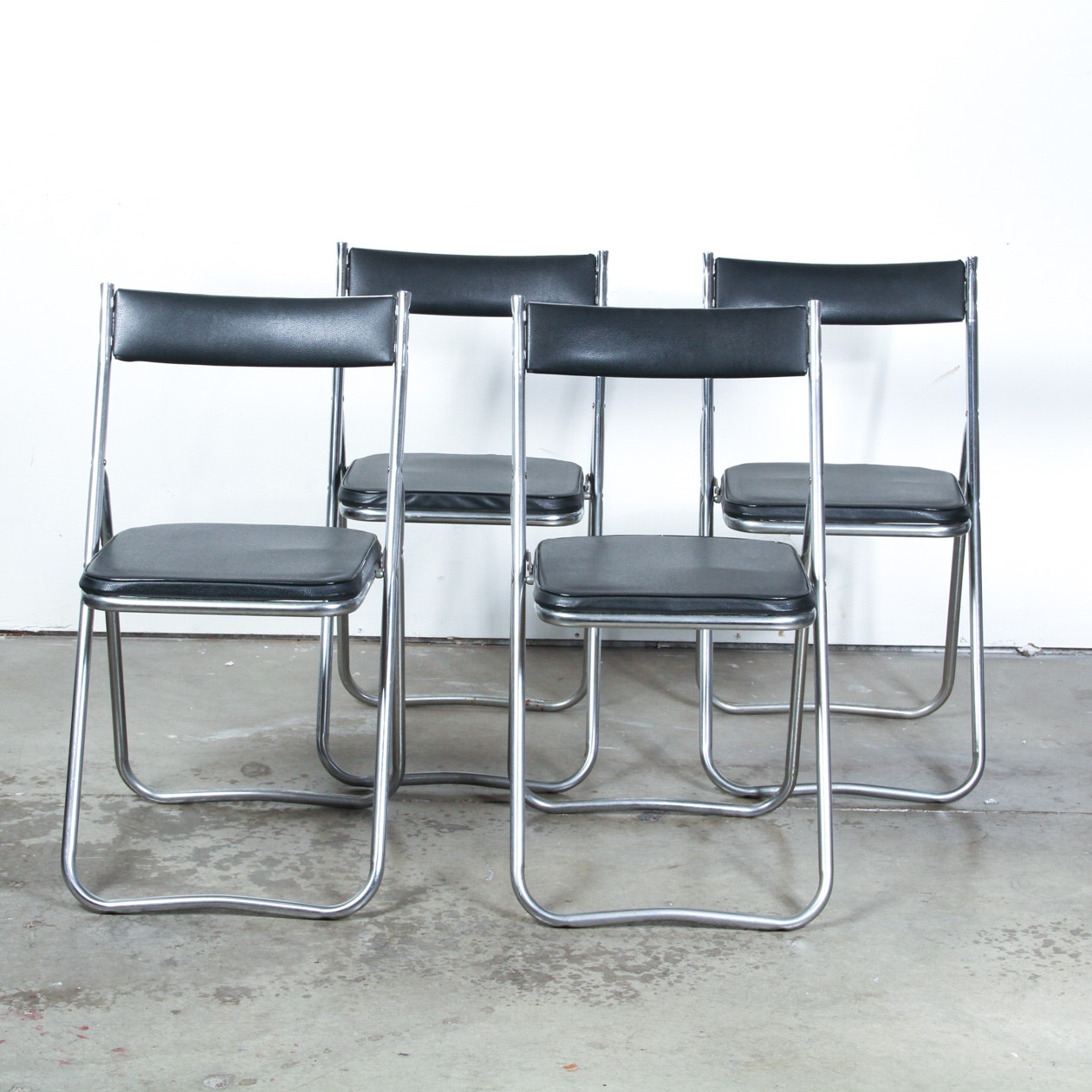 Set Of Four Mid Century Modern Metal And Leather Folding