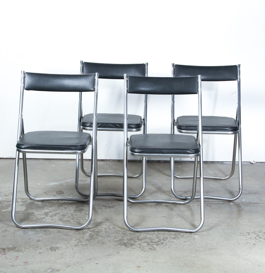 Set of four mid century modern metal and leather folding for Modern metal chairs