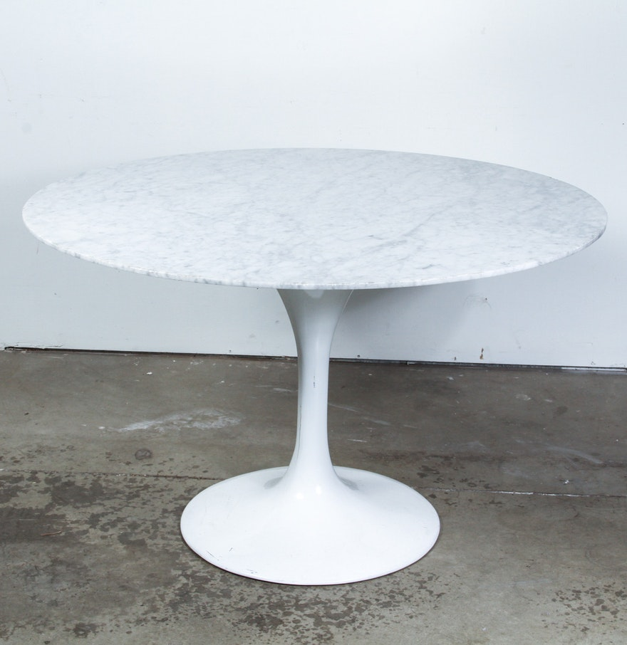 Mid Century Modern Marble Table: Mid-Century Modern Tulip Dining Table With Marble Top : EBTH