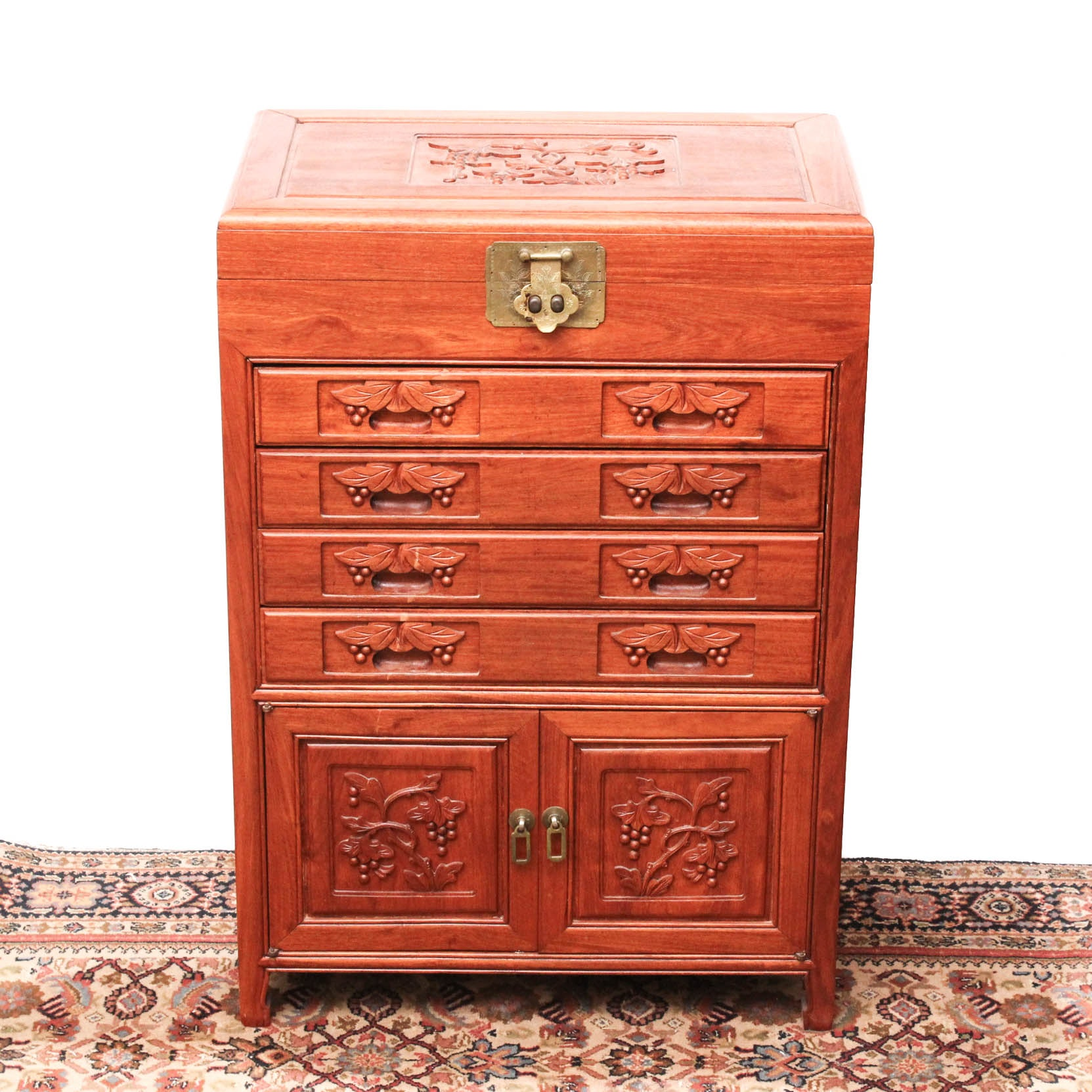 Chinese Carved Cherry Wood Silverware Cabinet ...