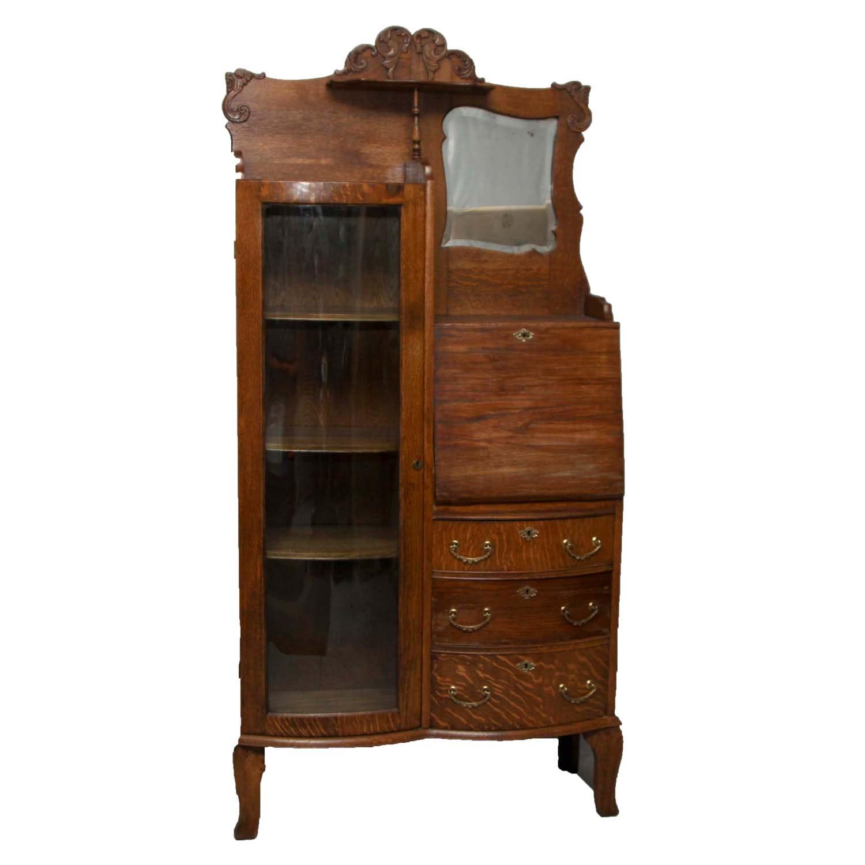Antique Oak China Cabinet And Secretary Ebth