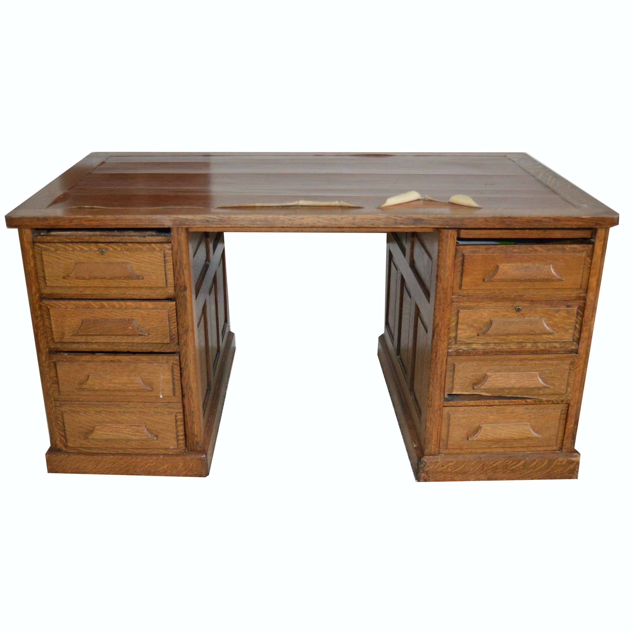 Superieur Vintage Oak Office Desk And Chair ...