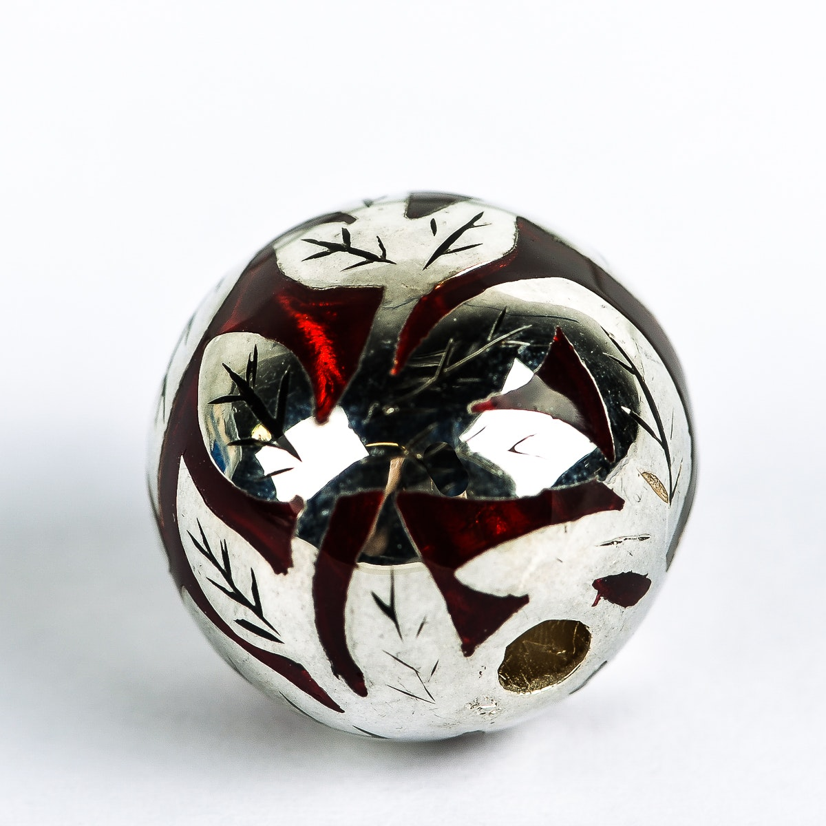 Sean Hill Sterling Silver and Red Resin Foliate Ball Charm