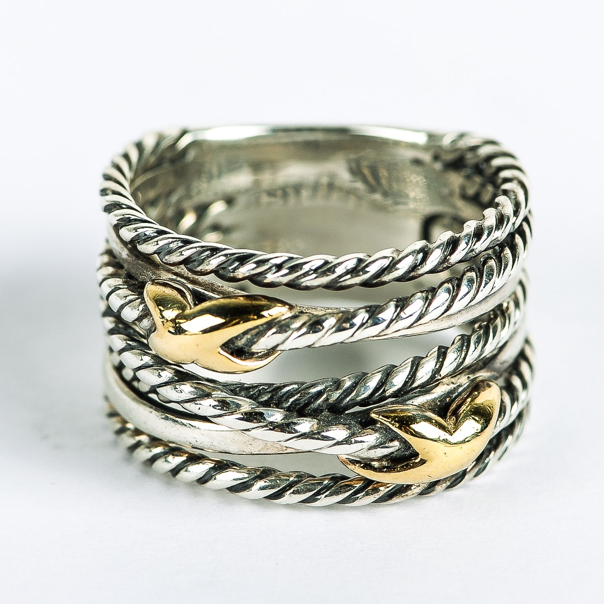 David Yurman Sterling Silver and 18K Yellow Gold Crossover Ring