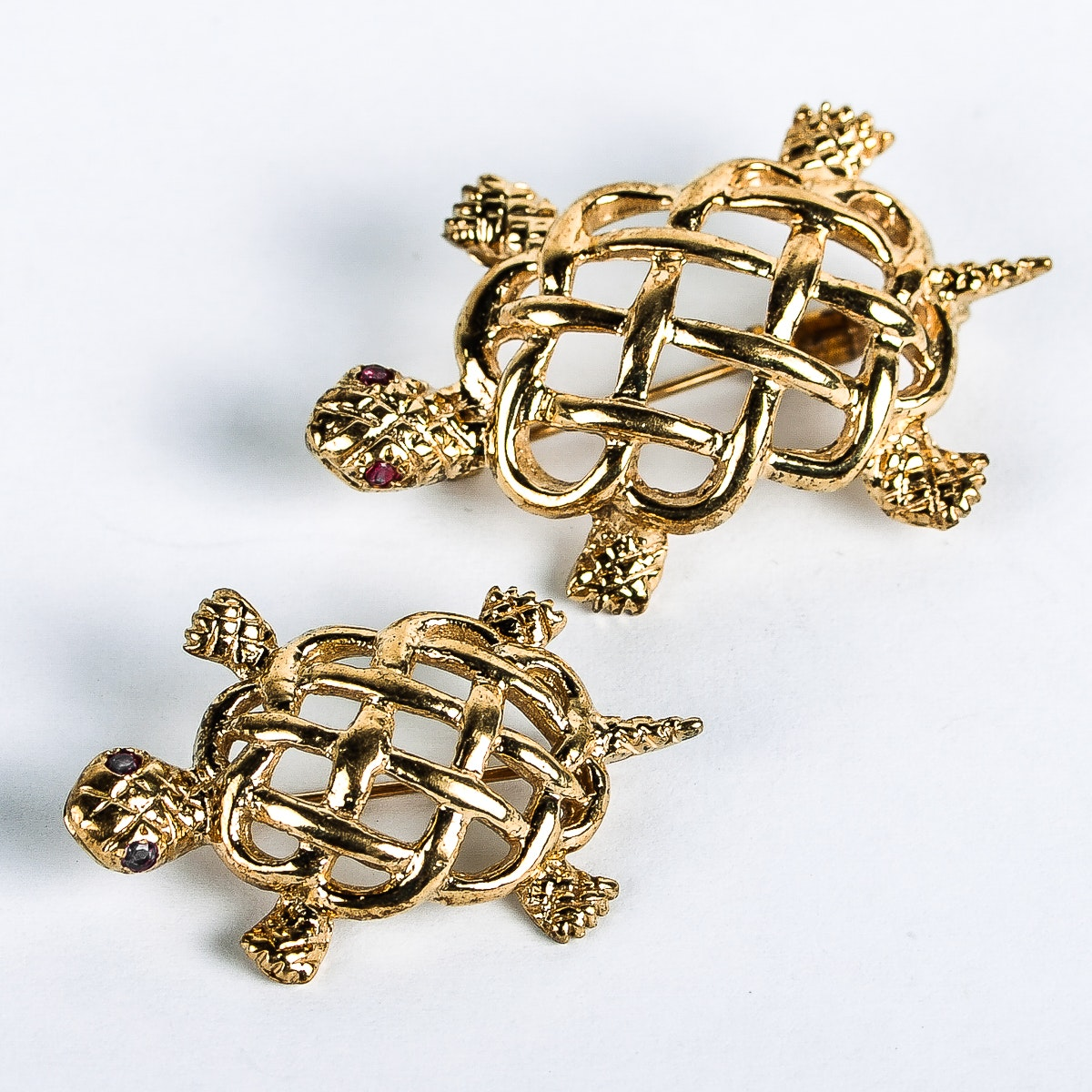 Pair of 14K Yellow Gold and Ruby Turtle Brooches