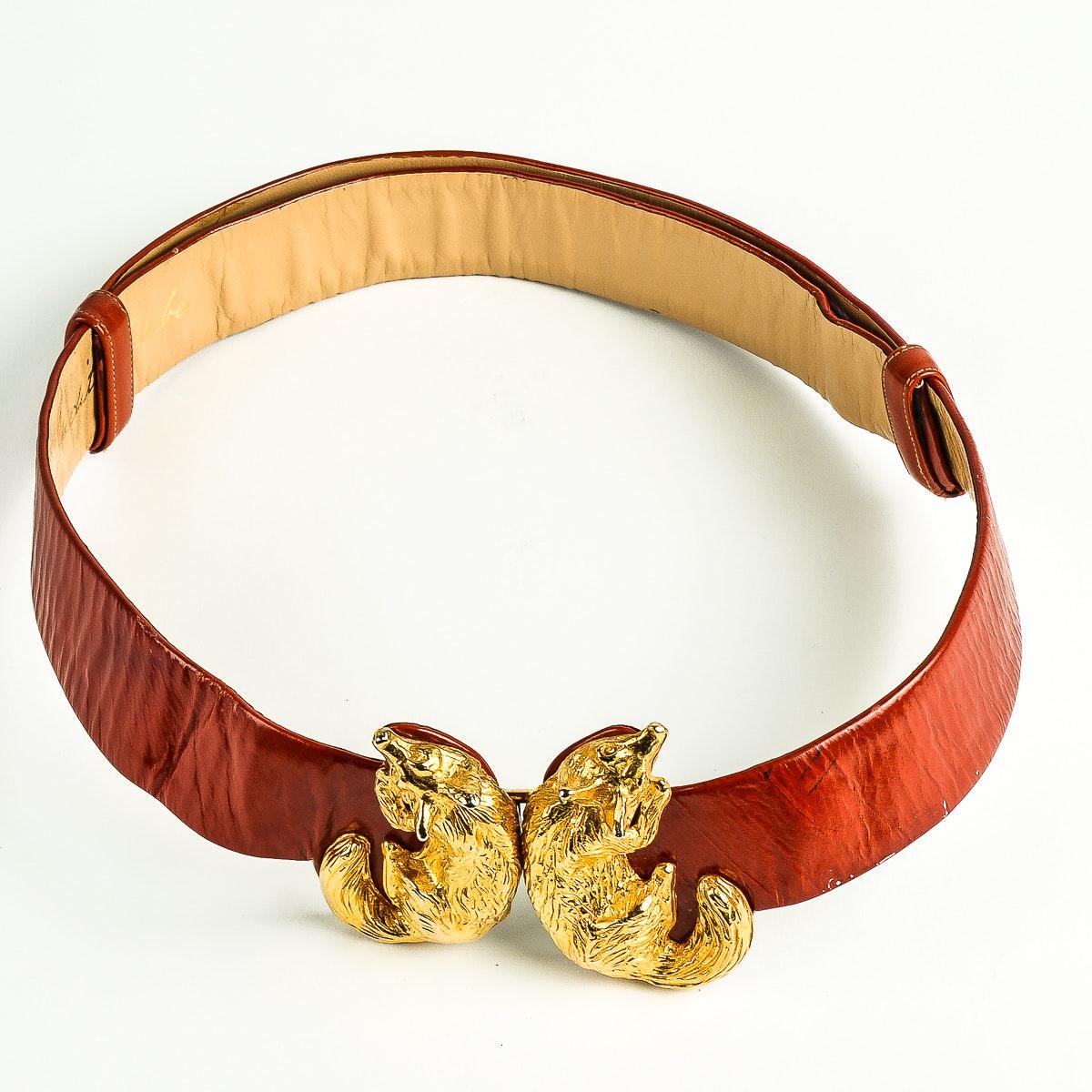 Vintage Judith Leiber Red Leather Belt