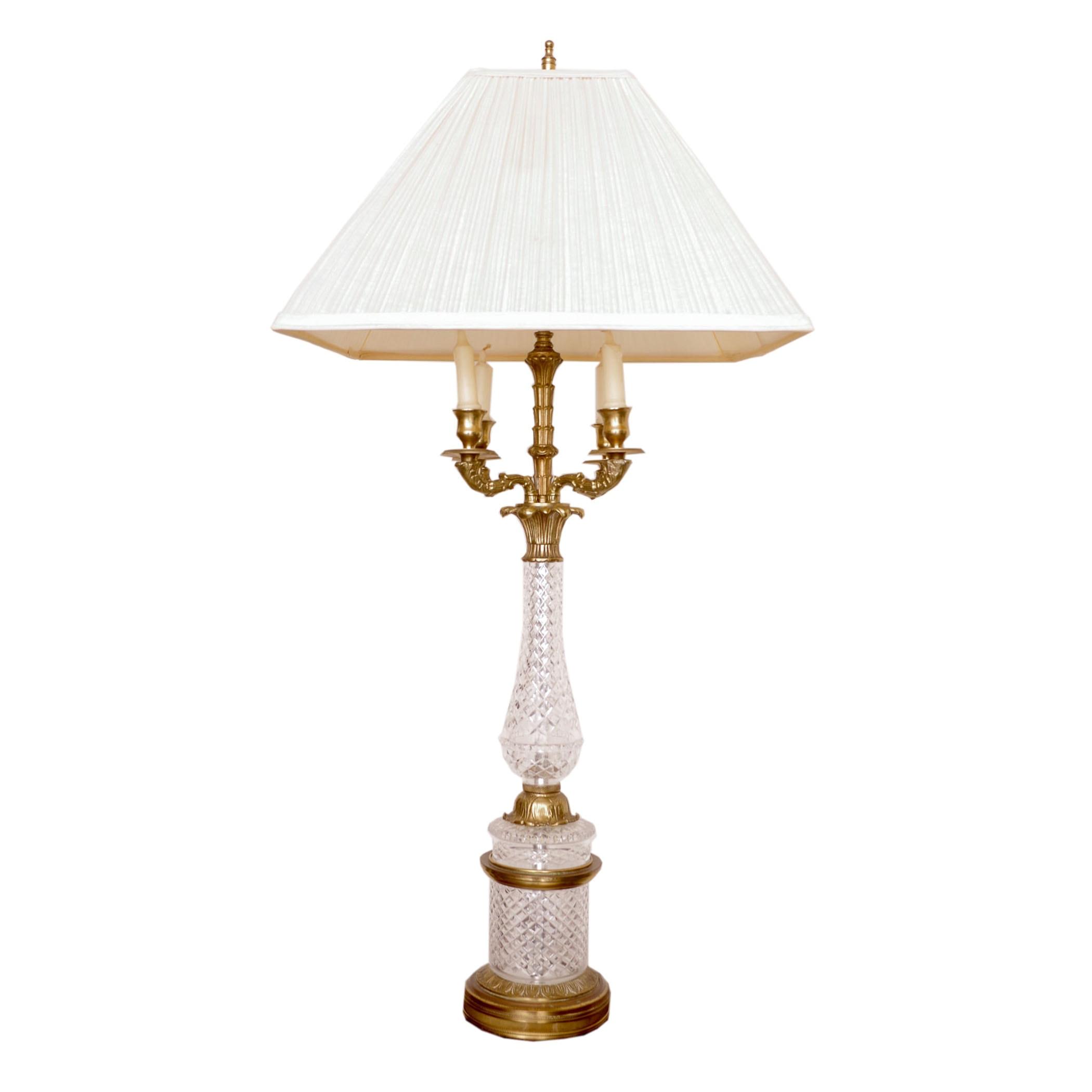 Warren Kessler Crystal Chandelier Table Lamp Ebth