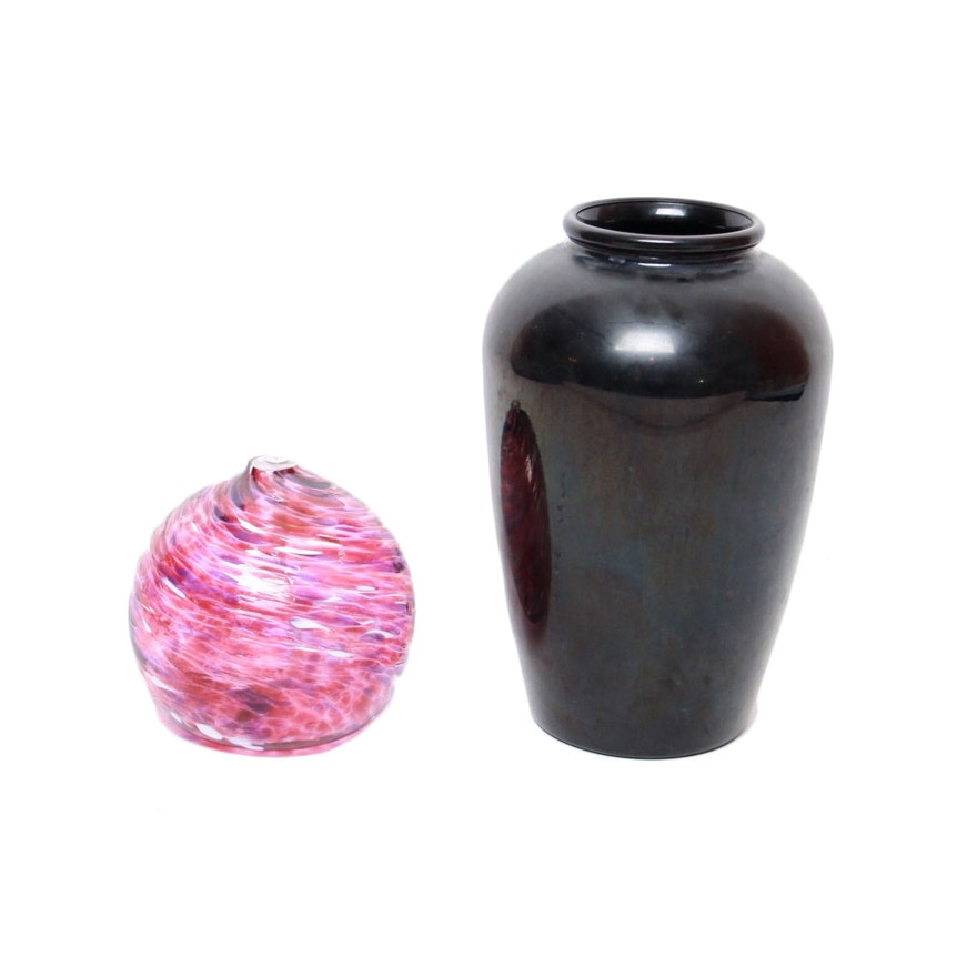 Black Amethyst Glass Vase And Glass Oil Diffuser Ebth
