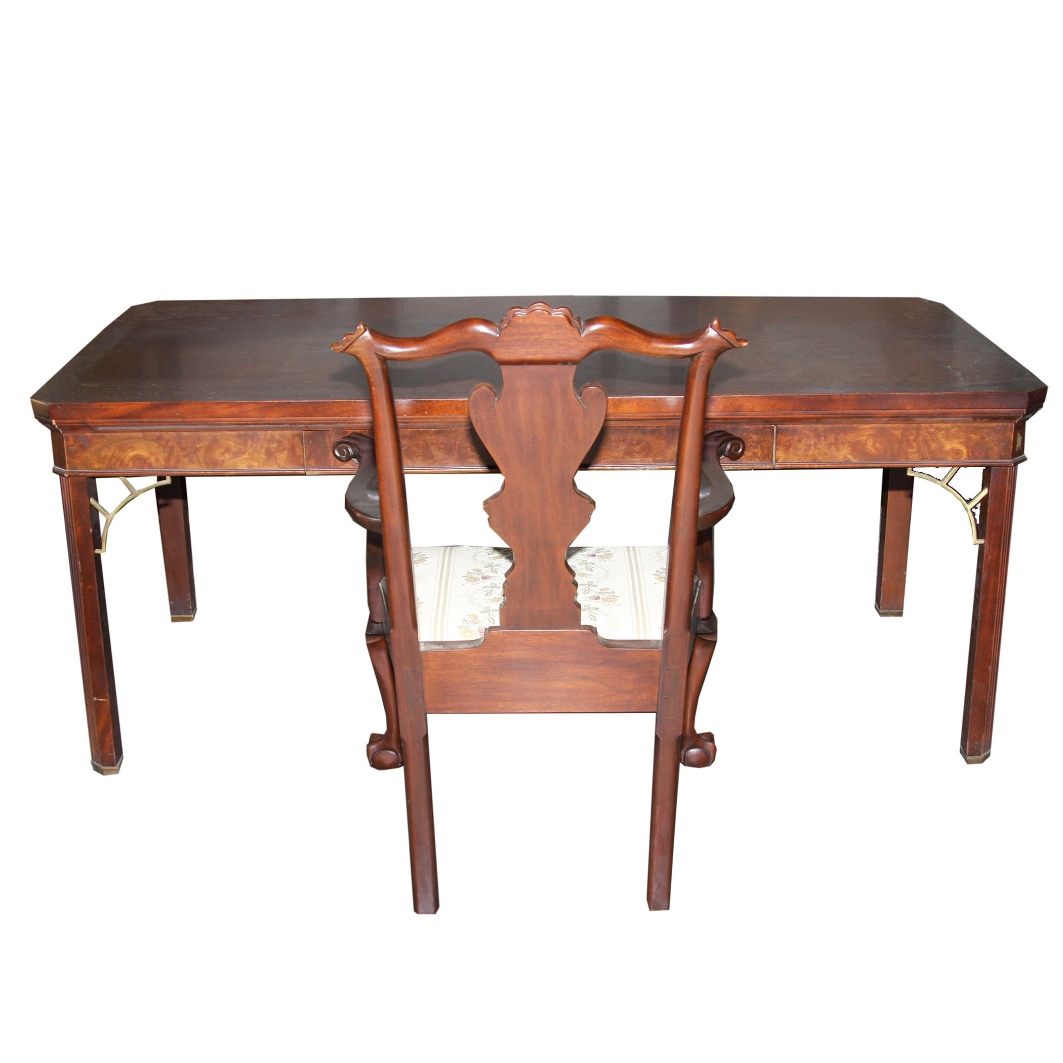 Myrtle Desk With Henkel-Harris Mahogany Arm Chair