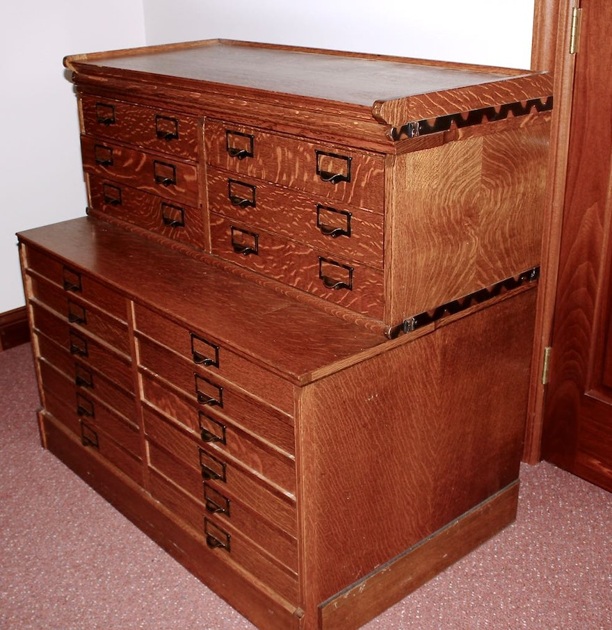 Two Vintage Stacking Oak Flat File Cabinets : EBTH