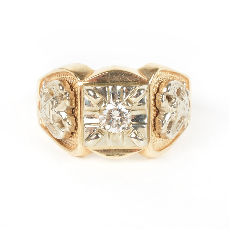 10K Yellow Gold Men's Masonic Diamond Ring