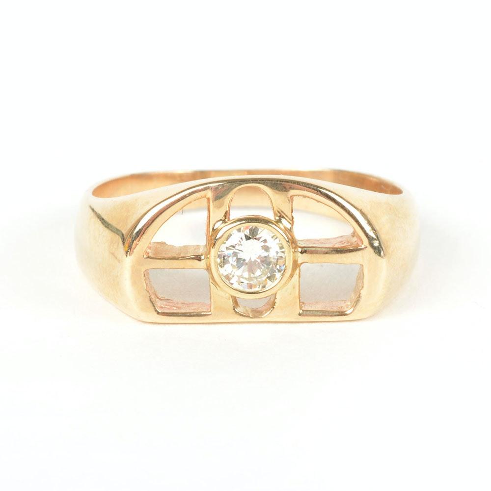 10K Yellow Gold Men's Openwork Diamond Ring