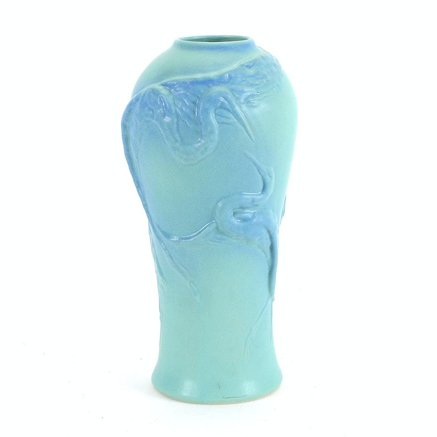 Tall Vintage Van Briggle Egret Ming Turquoise Floor Vase Ebth