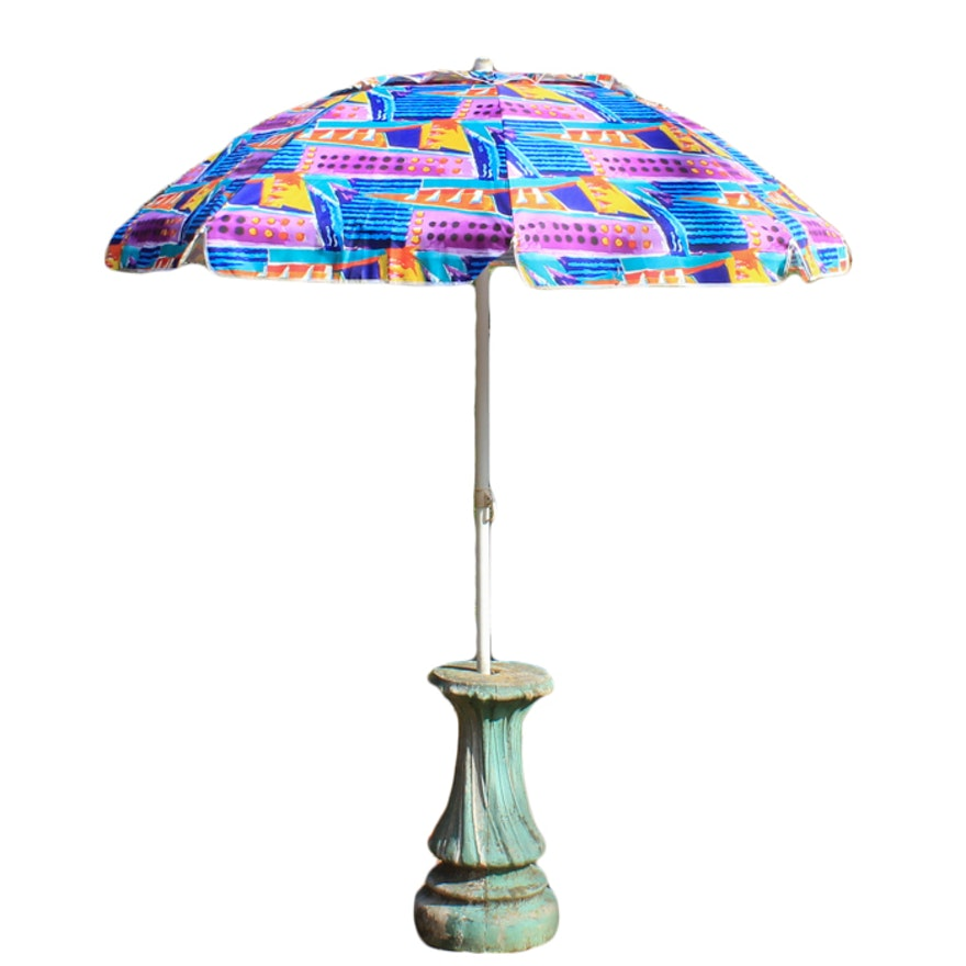 Concrete Umbrella Stand And Colorful Patio Umbrella Ebth