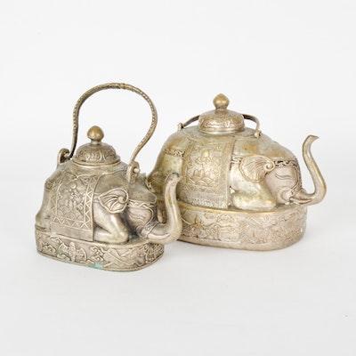 Pair of european ceramic teapots ebth - Elephant shaped teapot ...