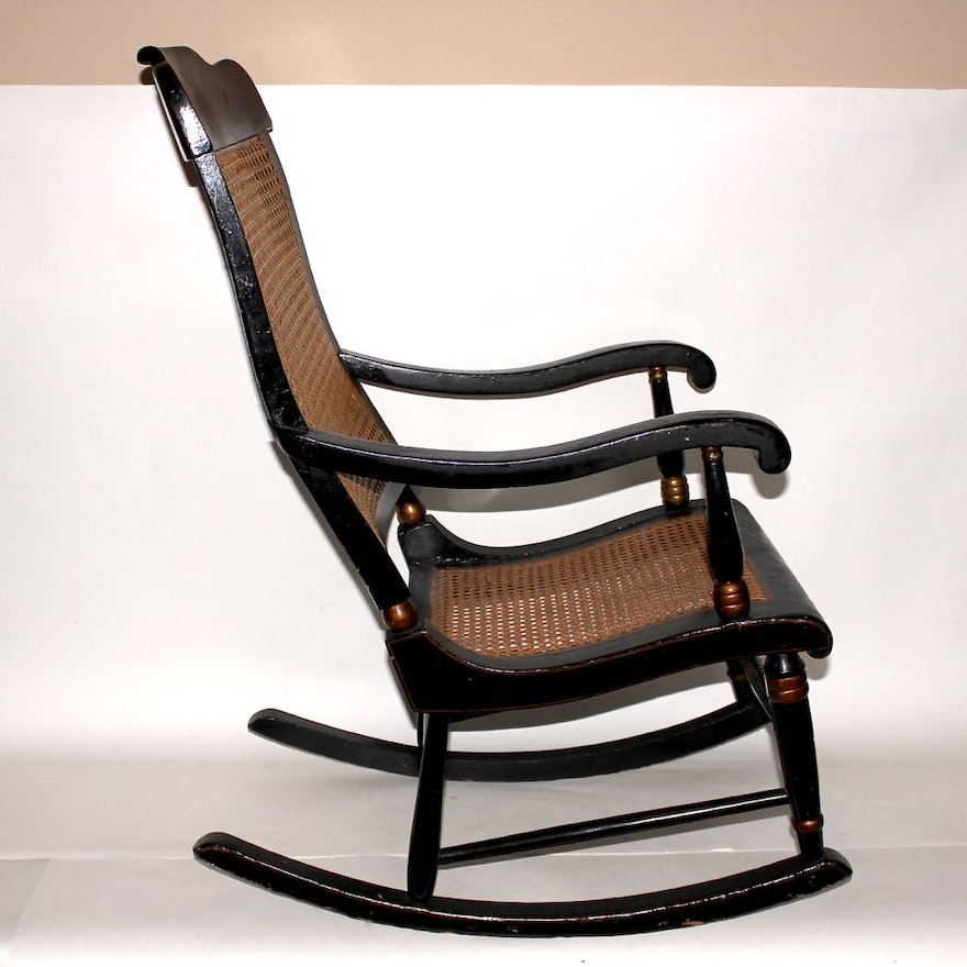 Two vintage adult wood rockers ebth - Automatic rocking chair for adults ...