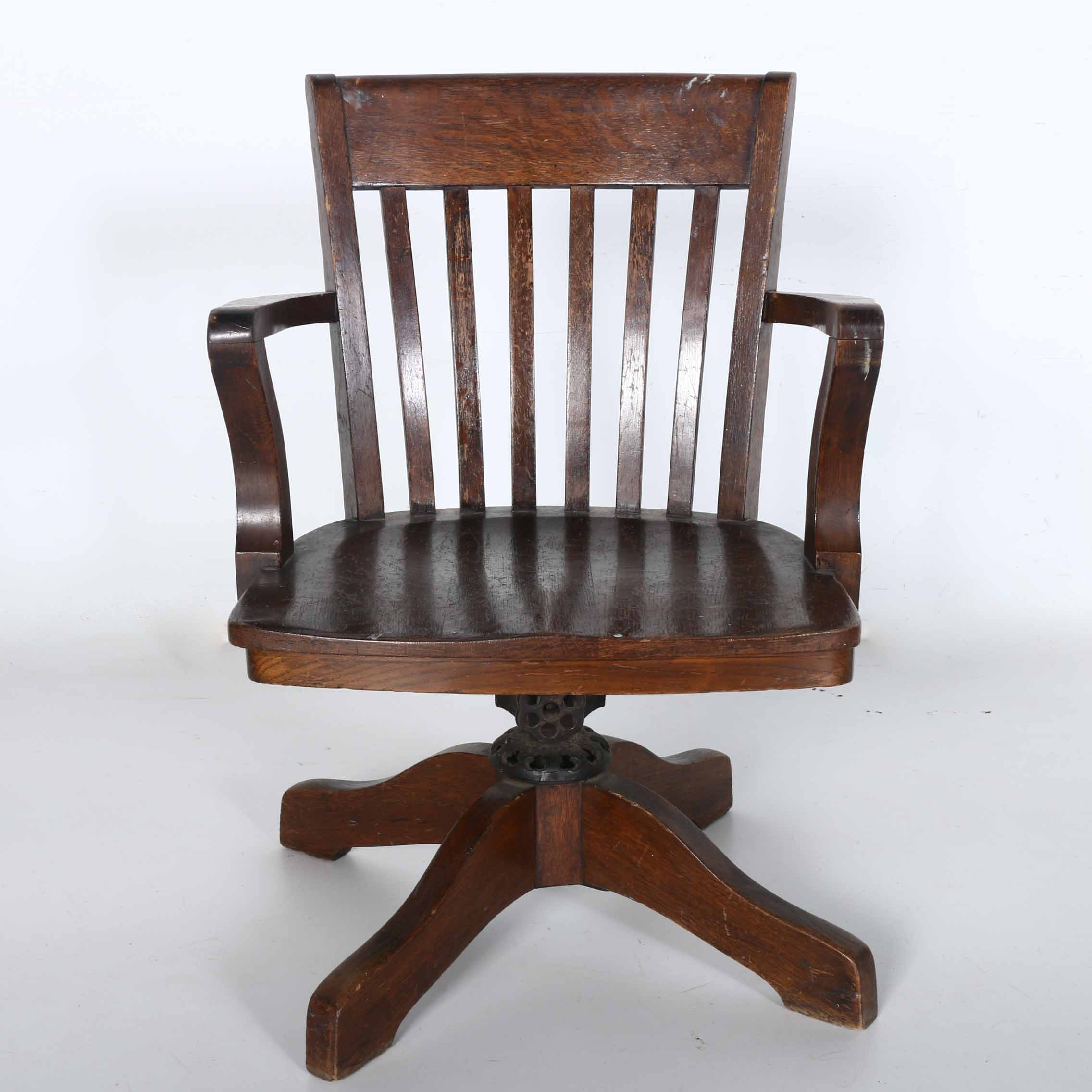 ... Thomasville Chair Company By Colonial Chair Company Solid Oak Desk Chair  Ebth ...
